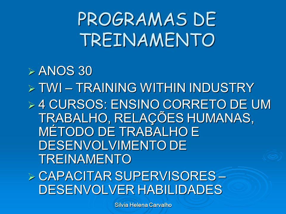 Silvia Helena Carvalho PROGRAMAS DE TREINAMENTO ANOS 30 ANOS 30 TWI – TRAINING WITHIN INDUSTRY TWI – TRAINING WITHIN INDUSTRY 4 CURSOS: ENSINO CORRETO