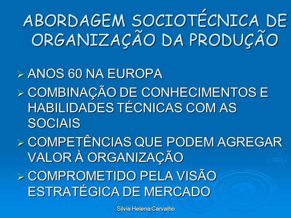 Silvia Helena Carvalho ABORDAGEM SOCIOTÉCNICA DE ORGANIZAÇÃO DA PRODUÇÃO ANOS 60 NA EUROPA ANOS 60 NA EUROPA COMBINAÇÃO DE CONHECIMENTOS E HABILIDADES
