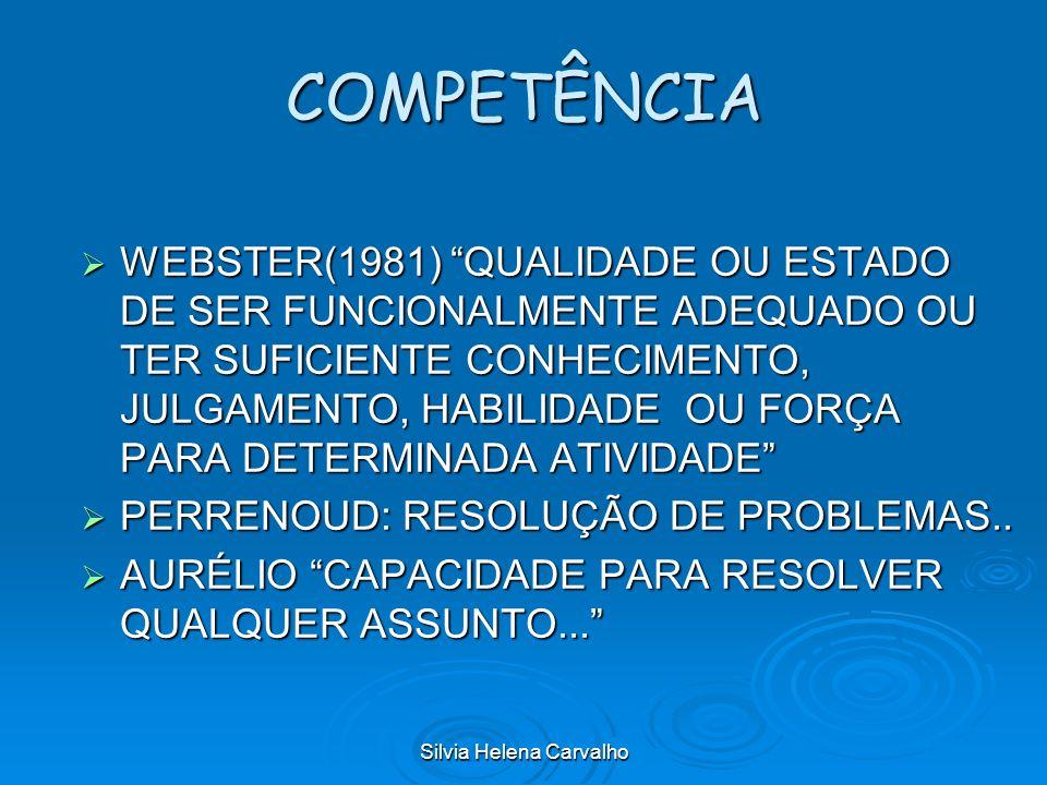 Silvia Helena Carvalho COMPETÊNCIA WEBSTER(1981) QUALIDADE OU ESTADO DE SER FUNCIONALMENTE ADEQUADO OU TER SUFICIENTE CONHECIMENTO, JULGAMENTO, HABILI