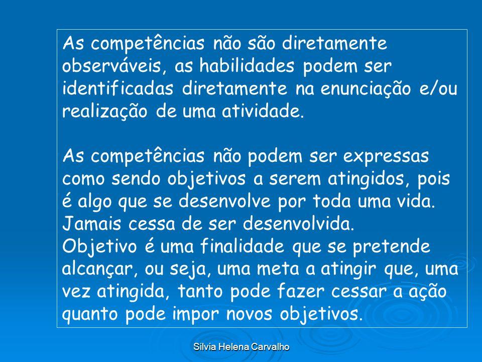 Silvia Helena Carvalho As competências não são diretamente observáveis, as habilidades podem ser identificadas diretamente na enunciação e/ou realizaç