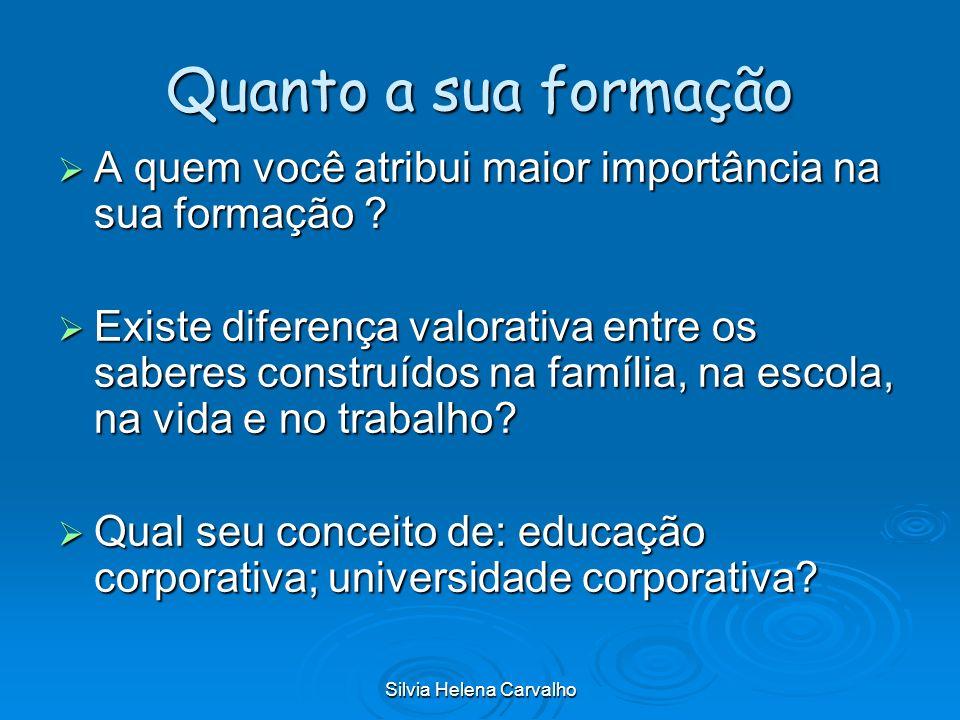 Silvia Helena Carvalho EDUCAÇÃO BRASILEIRA 1900 – 80% ANALFABETISMO -HOJE – 9% 1900 – 80% ANALFABETISMO -HOJE – 9% COLÉGIO DOS JESUÍTAS: 0,1% DA POPULAÇÃO MATRICULADA NA ESCOLA COLÉGIO DOS JESUÍTAS: 0,1% DA POPULAÇÃO MATRICULADA NA ESCOLA ESCOLA SECUNDÁRIA E SUPERIOR SURGEM ANTES QUE A PRIMÁRIA - SISTEMA ELITISTA ESCOLA SECUNDÁRIA E SUPERIOR SURGEM ANTES QUE A PRIMÁRIA - SISTEMA ELITISTA