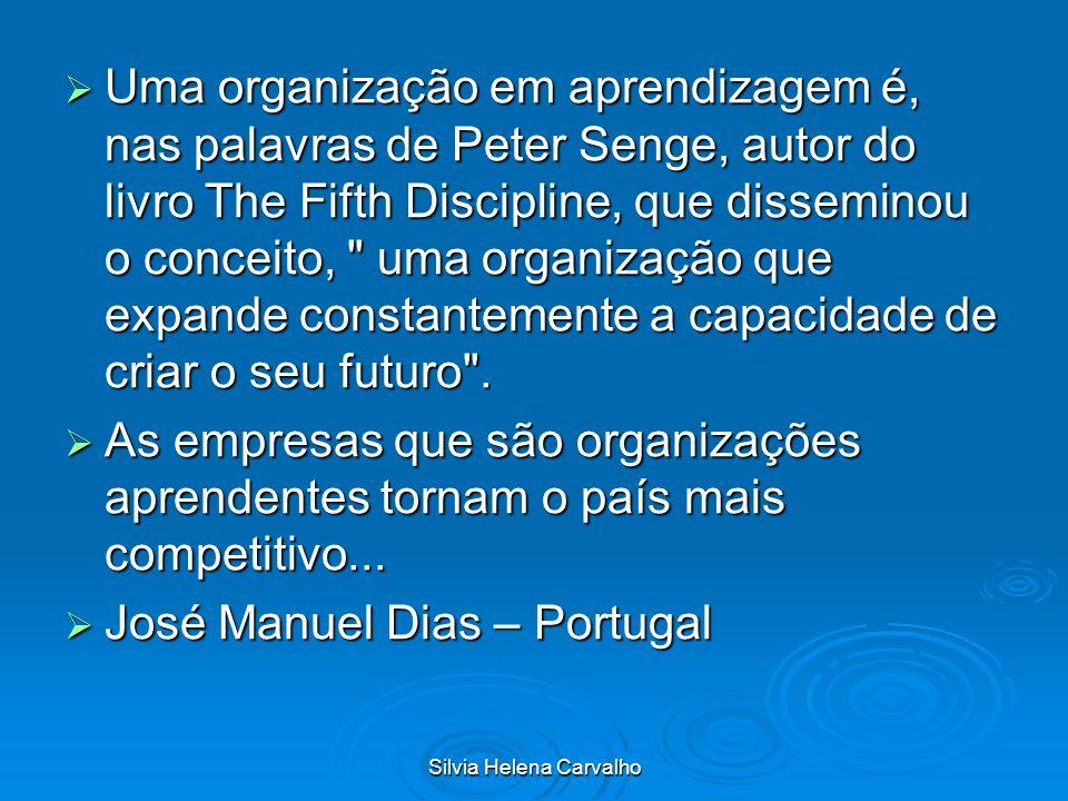 Silvia Helena Carvalho Uma organização em aprendizagem é, nas palavras de Peter Senge, autor do livro The Fifth Discipline, que disseminou o conceito,