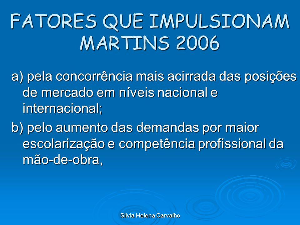 Silvia Helena Carvalho FATORES QUE IMPULSIONAM MARTINS 2006 a) pela concorrência mais acirrada das posições de mercado em níveis nacional e internacio