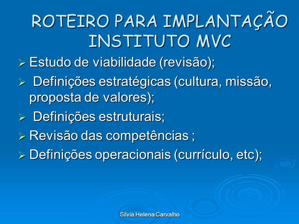 Silvia Helena Carvalho ROTEIRO PARA IMPLANTAÇÃO INSTITUTO MVC Estudo de viabilidade (revisão); Estudo de viabilidade (revisão); Definições estratégica