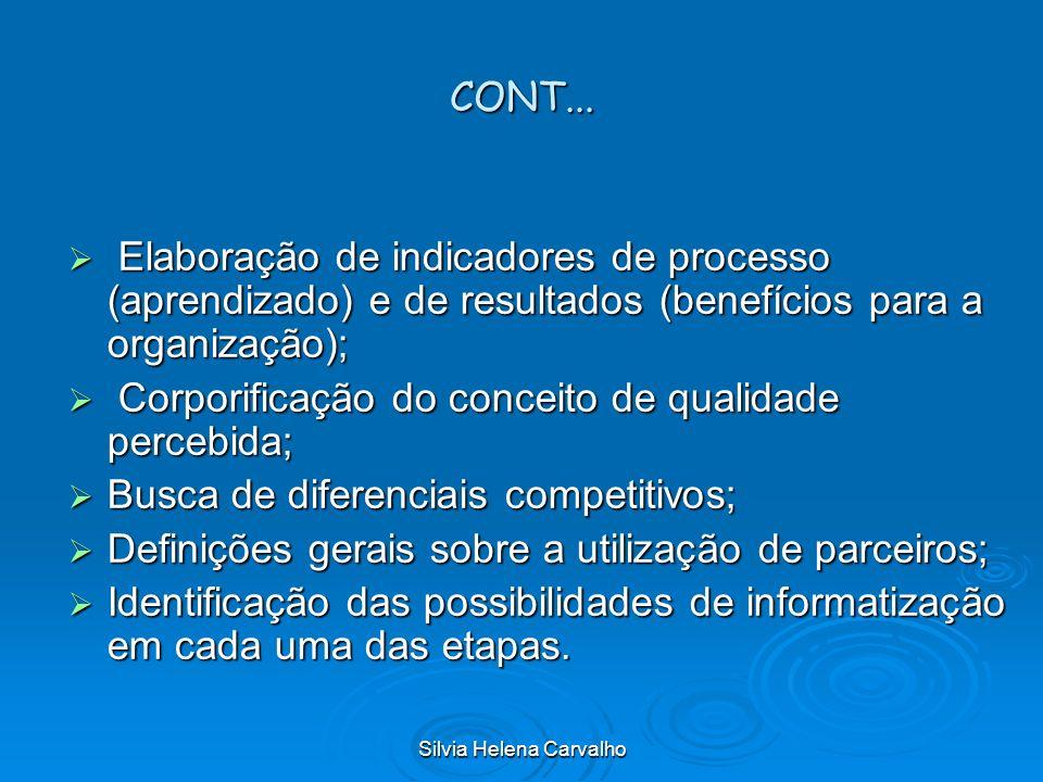 Silvia Helena Carvalho CONT... Elaboração de indicadores de processo (aprendizado) e de resultados (benefícios para a organização); Elaboração de indi