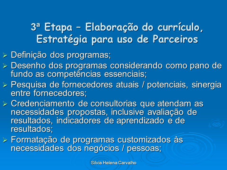 Silvia Helena Carvalho 3ª Etapa – Elaboração do currículo, Estratégia para uso de Parceiros Definição dos programas; Definição dos programas; Desenho