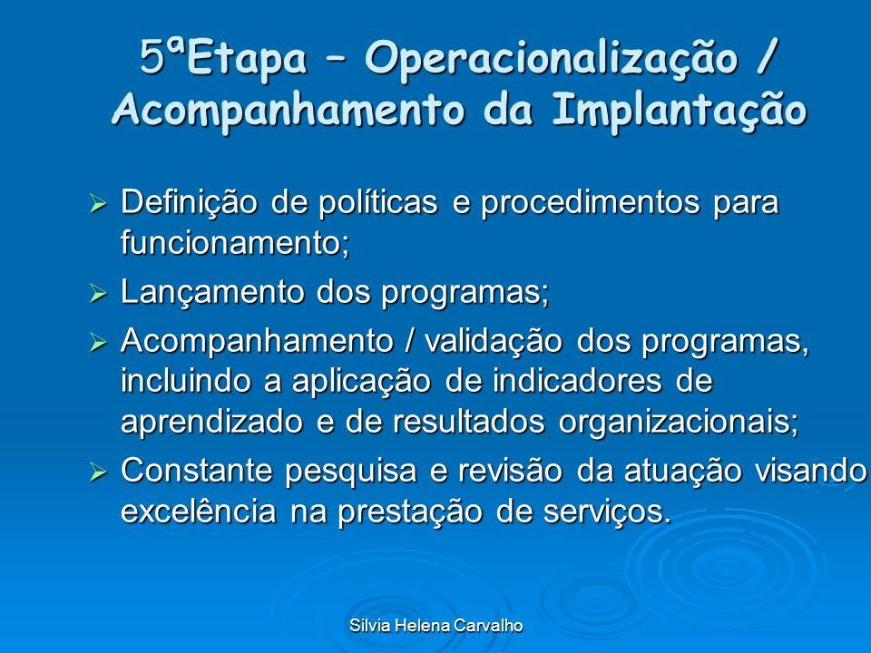 Silvia Helena Carvalho 5ªEtapa – Operacionalização / Acompanhamento da Implantação Definição de políticas e procedimentos para funcionamento; Definiçã