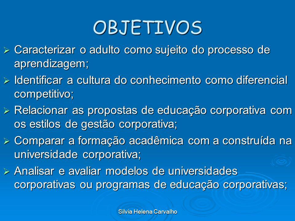 Silvia Helena Carvalho OBJETIVOS Caracterizar o adulto como sujeito do processo de aprendizagem; Caracterizar o adulto como sujeito do processo de apr
