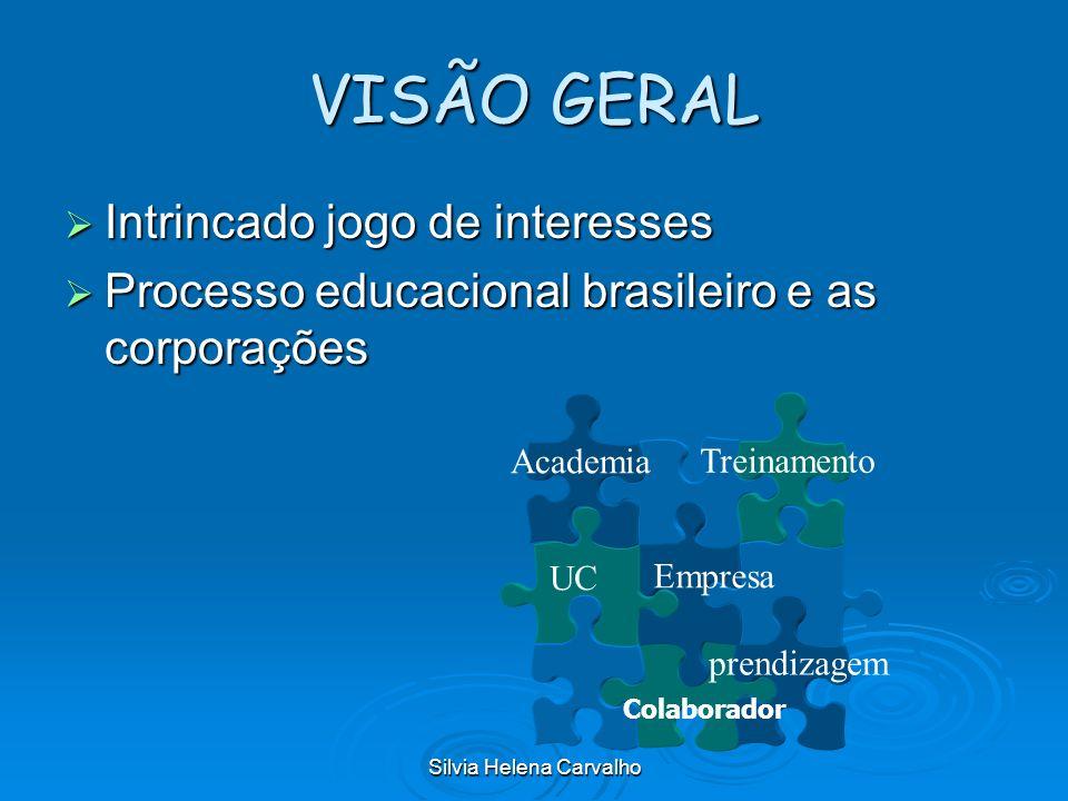 Silvia Helena Carvalho VISÃO GERAL Intrincado jogo de interesses Intrincado jogo de interesses Processo educacional brasileiro e as corporações Proces