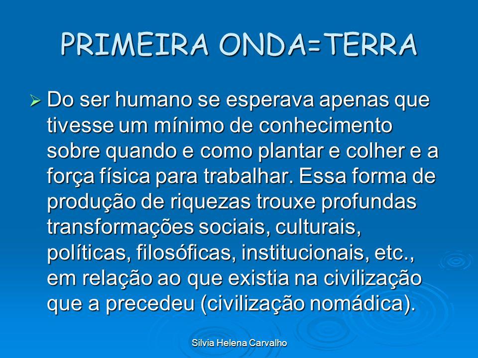 Silvia Helena Carvalho PRIMEIRA ONDA=TERRA Do ser humano se esperava apenas que tivesse um mínimo de conhecimento sobre quando e como plantar e colher