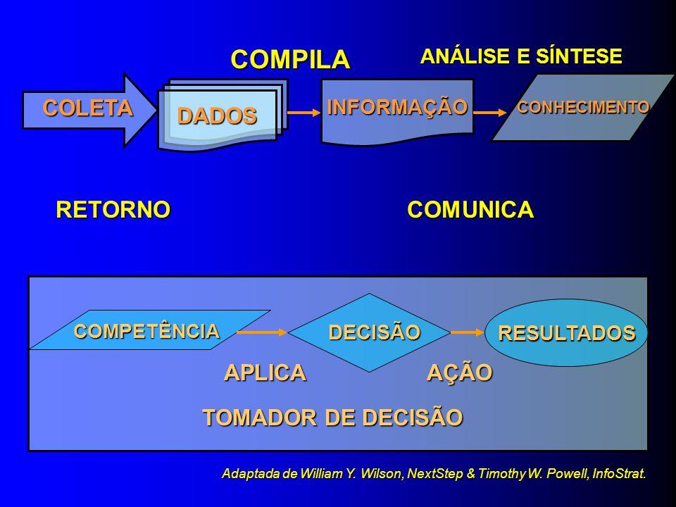 Dado Conectividade Entendimento Informação Conhecimento Sabedoria/Competência Entendimento das relações Entendimento dos padrões Entendimento dos prin