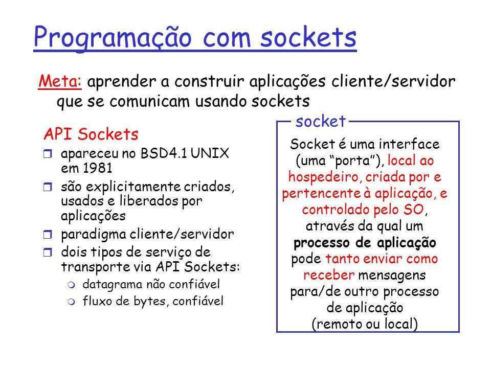 Programação com sockets API Sockets apareceu no BSD4.1 UNIX em 1981 são explicitamente criados, usados e liberados por aplicações paradigma cliente/servidor dois tipos de serviço de transporte via API Sockets: datagrama não confiável fluxo de bytes, confiável Socket é uma interface (uma porta), local ao hospedeiro, criada por e pertencente à aplicação, e controlado pelo SO, através da qual um processo de aplicação pode tanto enviar como receber mensagens para/de outro processo de aplicação (remoto ou local) socket Meta: aprender a construir aplicações cliente/servidor que se comunicam usando sockets
