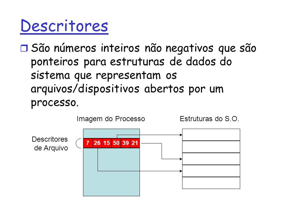 Descritores São números inteiros não negativos que são ponteiros para estruturas de dados do sistema que representam os arquivos/dispositivos abertos por um processo.