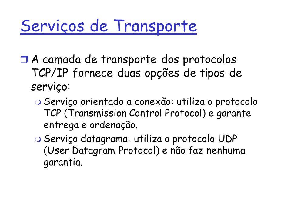 Serviços de Transporte A camada de transporte dos protocolos TCP/IP fornece duas opções de tipos de serviço: Serviço orientado a conexão: utiliza o protocolo TCP (Transmission Control Protocol) e garante entrega e ordenação.