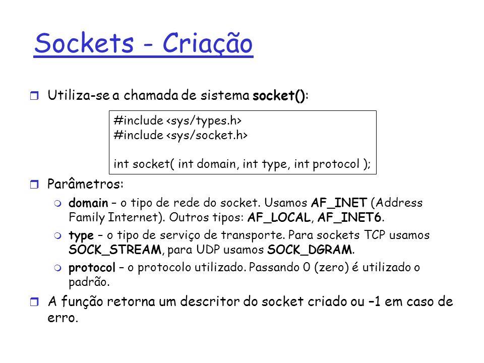 Sockets - Criação Utiliza-se a chamada de sistema socket(): Parâmetros: domain – o tipo de rede do socket.