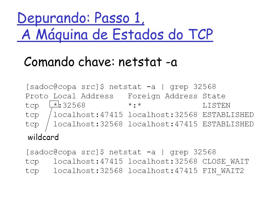 [sadoc@copa src]$ netstat -a | grep 32568 Proto Local Address Foreign Address State tcp *:32568 *:* LISTEN tcp localhost:47415 localhost:32568 ESTABLI