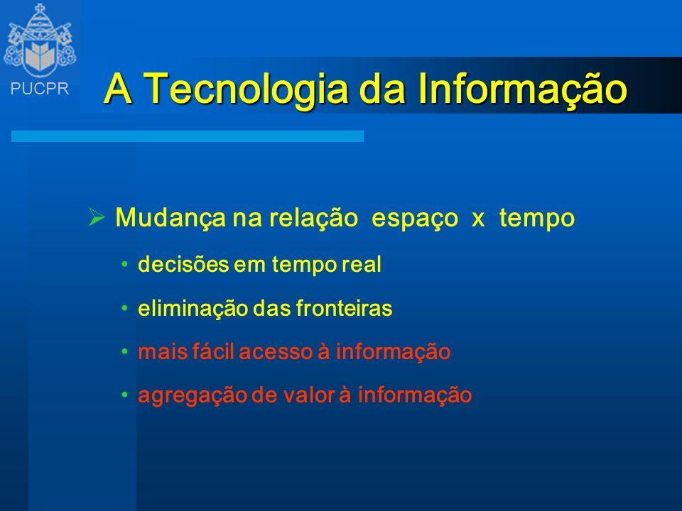 PUCPR A Tecnologia da Informação Mudança na relação espaço x tempo decisões em tempo real eliminação das fronteiras mais fácil acesso à informação agr
