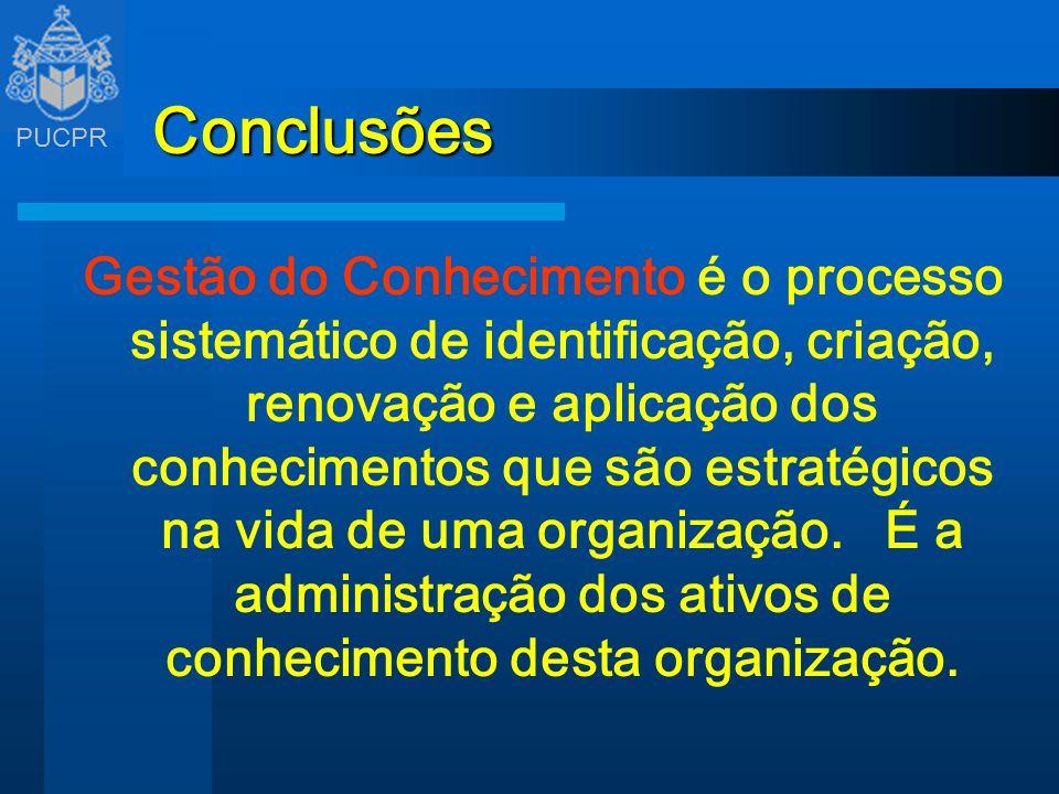 PUCPR Conclusões Gestão do Conhecimento é o processo sistemático de identificação, criação, renovação e aplicação dos conhecimentos que são estratégic