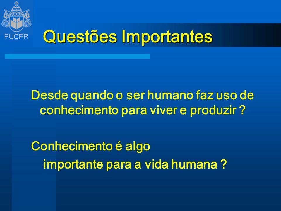 PUCPR Questões Importantes Desde quando o ser humano faz uso de conhecimento para viver e produzir ? Conhecimento é algo importante para a vida humana