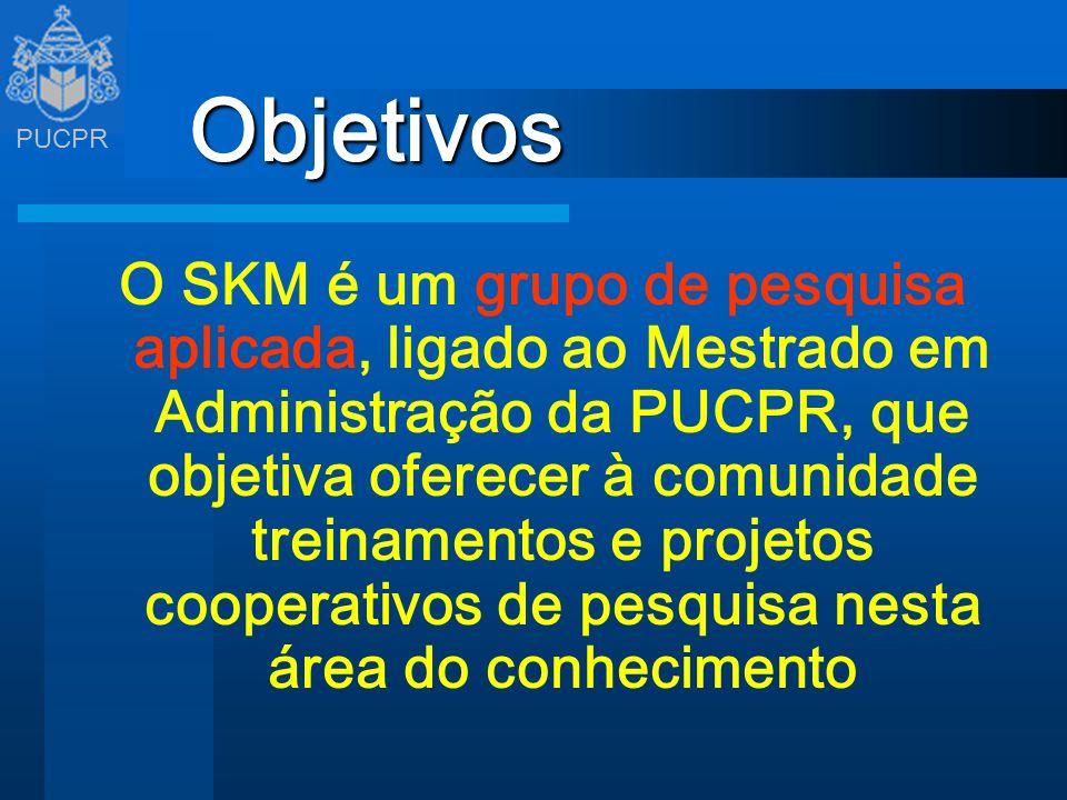 PUCPR Objetivos O SKM é um grupo de pesquisa aplicada, ligado ao Mestrado em Administração da PUCPR, que objetiva oferecer à comunidade treinamentos e