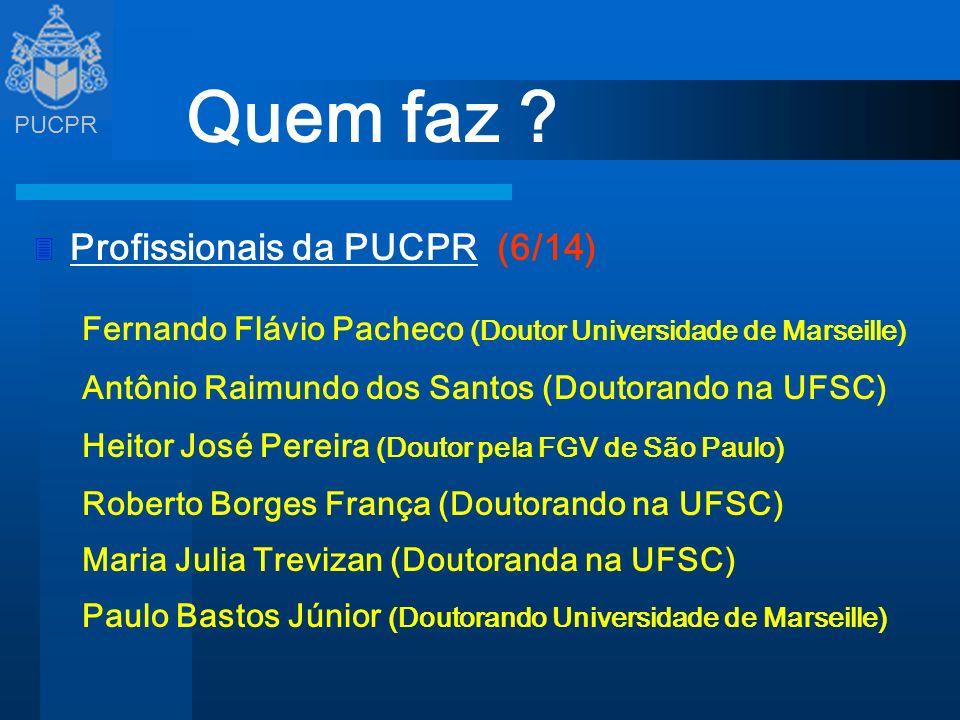 PUCPR Quem faz ? 3 Profissionais da PUCPR (6/14) Fernando Flávio Pacheco (Doutor Universidade de Marseille) Antônio Raimundo dos Santos (Doutorando na