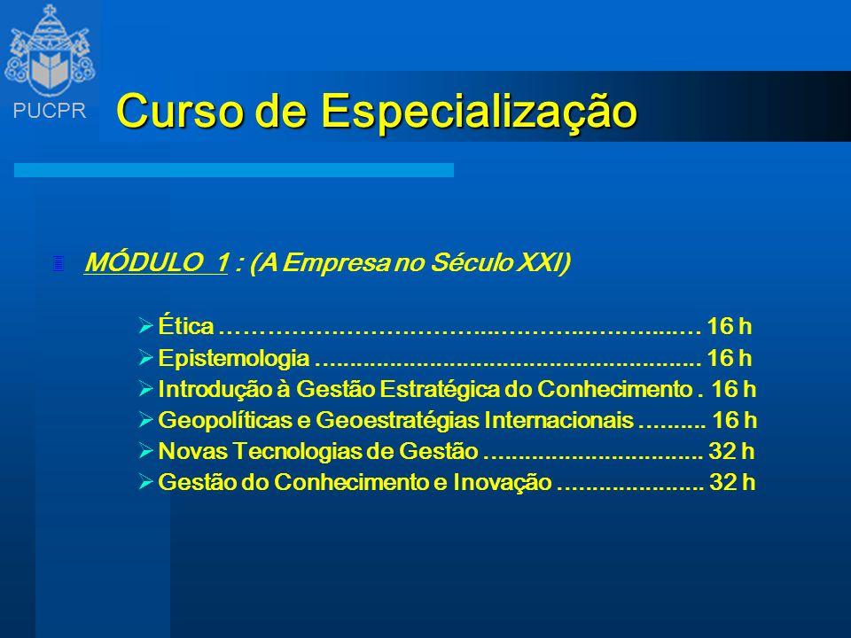 PUCPR Curso de Especialização 3 MÓDULO 1 : (A Empresa no Século XXI) Ética ……………………………...………...….….....… 16 h Epistemologia...........................