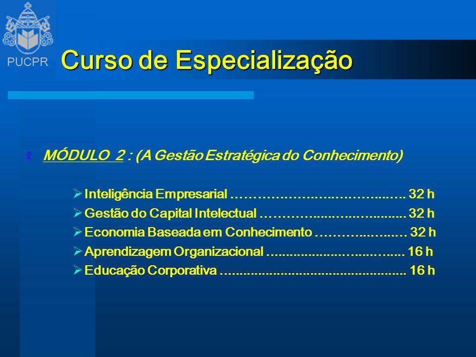 PUCPR Curso de Especialização 3 MÓDULO 2 : (A Gestão Estratégica do Conhecimento) Inteligência Empresarial ……………….…..………....…. 32 h Gestão do Capital