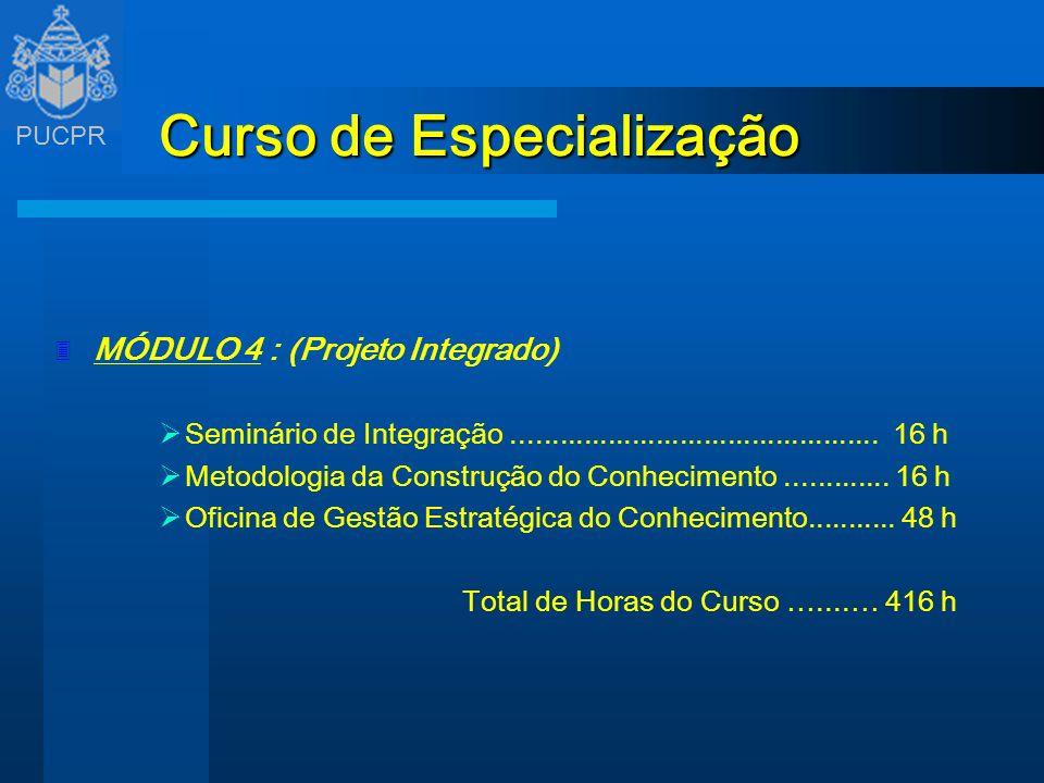 PUCPR Curso de Especialização 3 MÓDULO 4 : (Projeto Integrado) Seminário de Integração.............................................. 16 h Metodologia