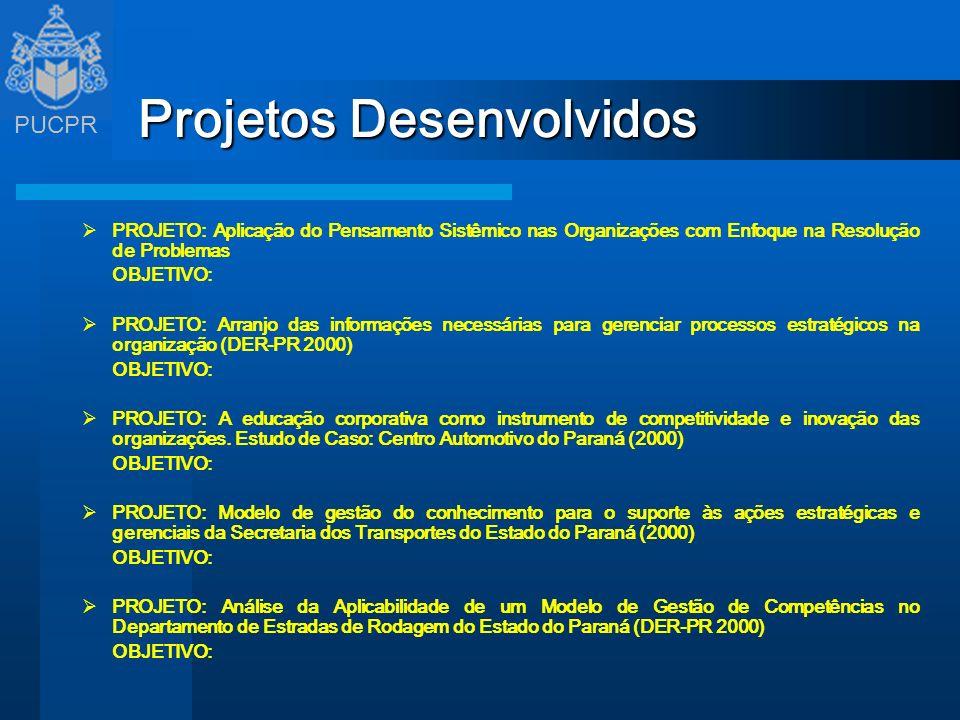PUCPR Projetos Desenvolvidos PROJETO: Aplicação do Pensamento Sistêmico nas Organizações com Enfoque na Resolução de Problemas OBJETIVO: PROJETO: Arra