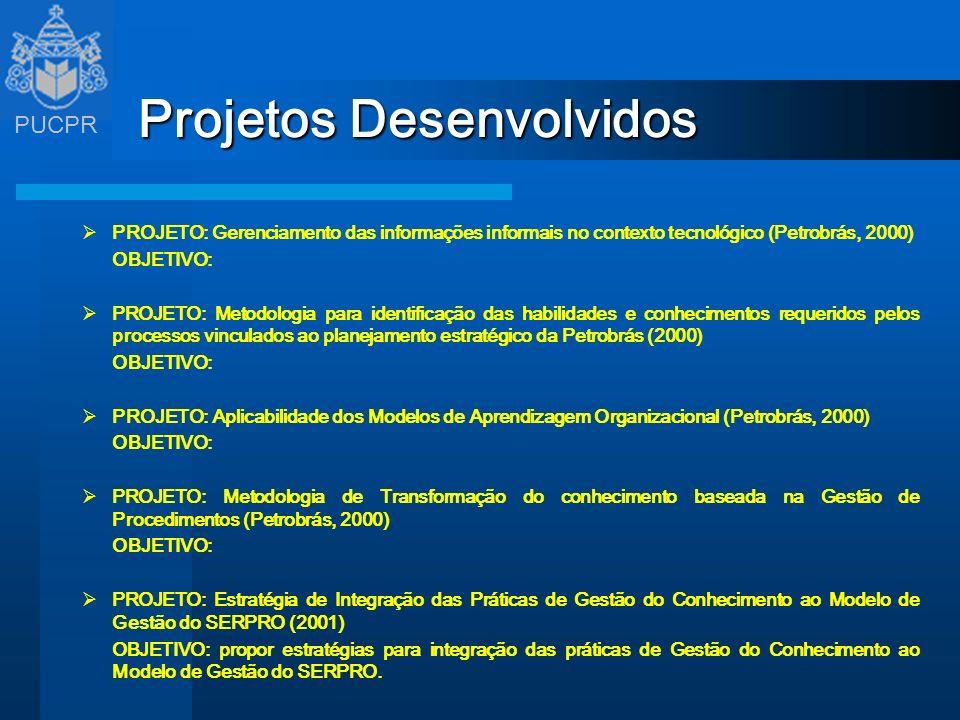 PUCPR Projetos Desenvolvidos PROJETO: Gerenciamento das informações informais no contexto tecnológico (Petrobrás, 2000) OBJETIVO: PROJETO: Metodologia