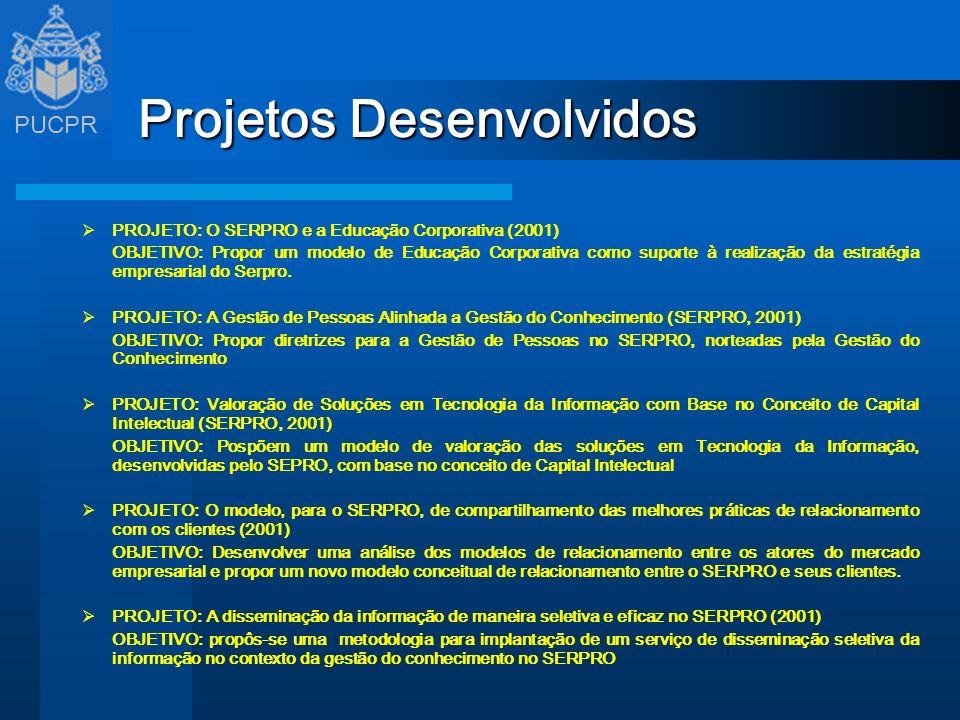 PUCPR Projetos Desenvolvidos PROJETO: O SERPRO e a Educação Corporativa (2001) OBJETIVO: Propor um modelo de Educação Corporativa como suporte à reali