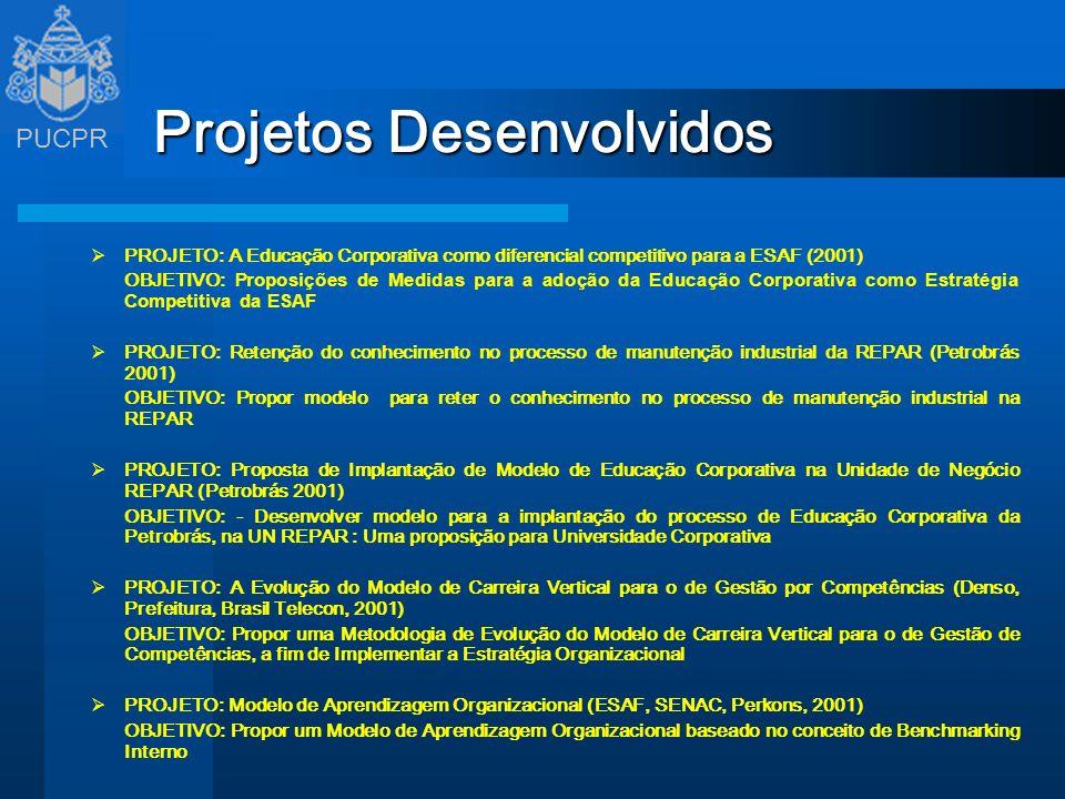 PUCPR Projetos Desenvolvidos PROJETO: A Educação Corporativa como diferencial competitivo para a ESAF (2001) OBJETIVO: Proposições de Medidas para a a