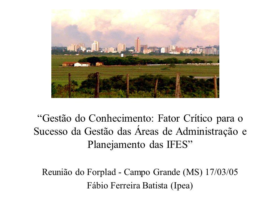 Gestão do Conhecimento: Fator Crítico para o Sucesso da Gestão das Áreas de Administração e Planejamento das IFES Reunião do Forplad - Campo Grande (MS) 17/03/05 Fábio Ferreira Batista (Ipea)