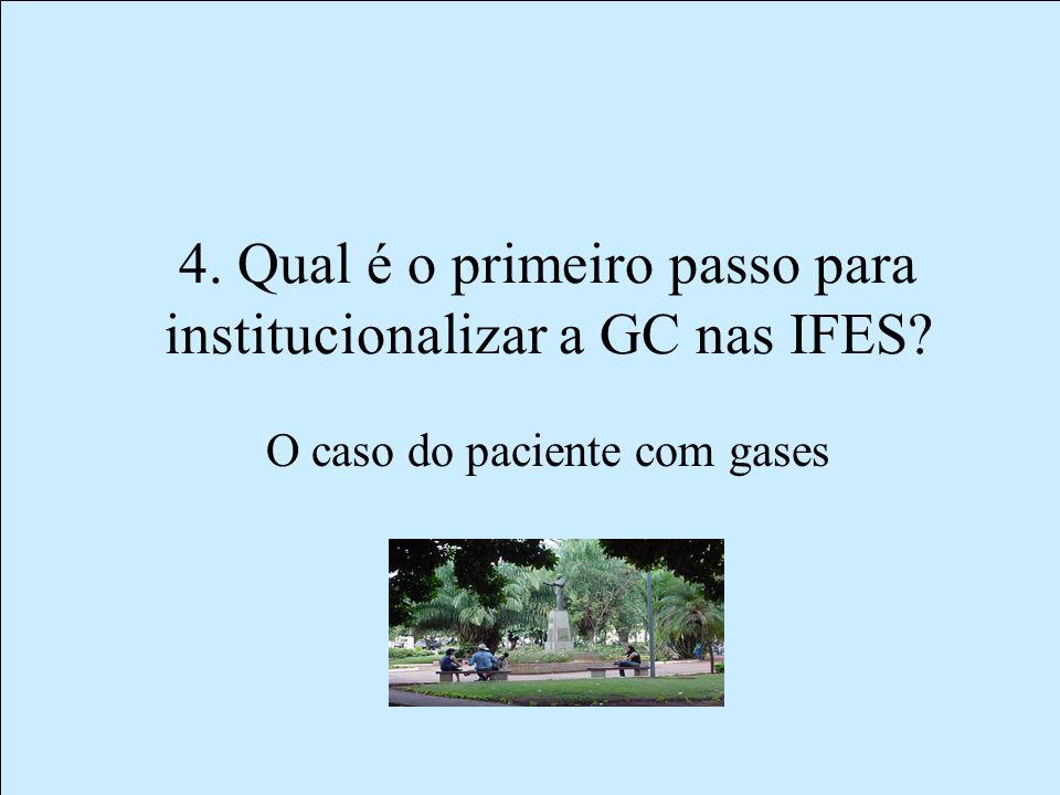 4. Qual é o primeiro passo para institucionalizar a GC nas IFES? O caso do paciente com gases