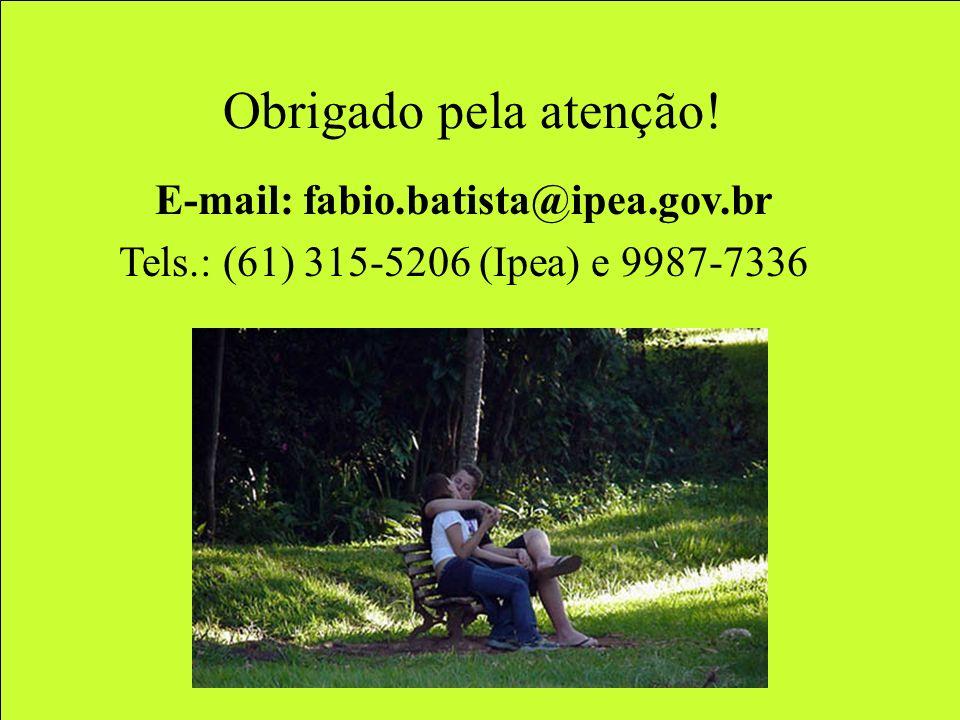 Obrigado pela atenção! E-mail: fabio.batista@ipea.gov.br Tels.: (61) 315-5206 (Ipea) e 9987-7336