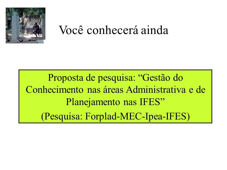 Você conhecerá ainda Proposta de pesquisa: Gestão do Conhecimento nas áreas Administrativa e de Planejamento nas IFES (Pesquisa: Forplad-MEC-Ipea-IFES)
