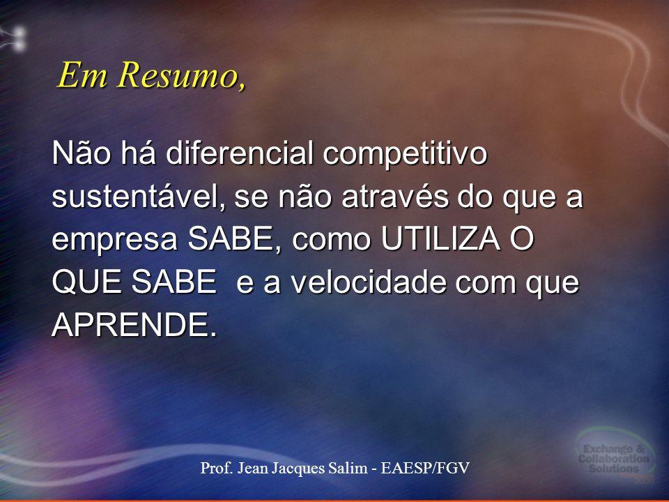 13 Stockdale-Mangione171 101000 MEC keynote 13 Prof. Jean Jacques Salim - EAESP/FGV Em Resumo, Não há diferencial competitivo sustentável, se não atra