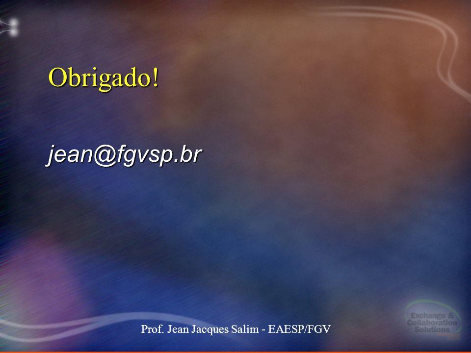 14 Stockdale-Mangione171 101000 MEC keynote 14 Prof. Jean Jacques Salim - EAESP/FGV Obrigado! jean@fgvsp.br
