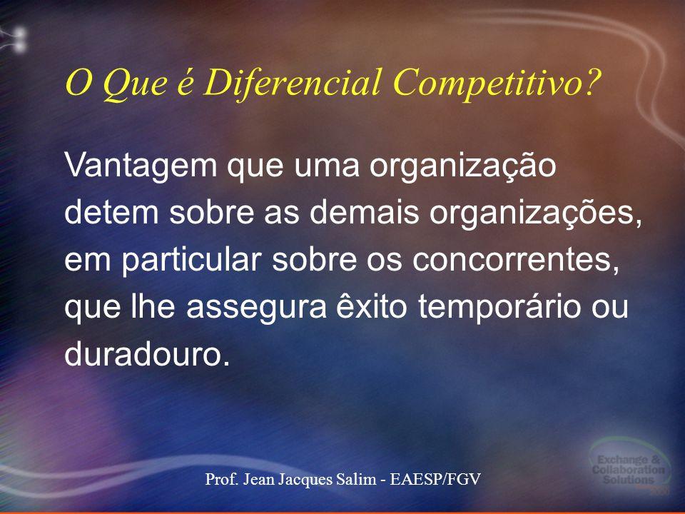 2 Stockdale-Mangione171 101000 MEC keynote 2 Prof. Jean Jacques Salim - EAESP/FGV O Que é Diferencial Competitivo? Vantagem que uma organização detem