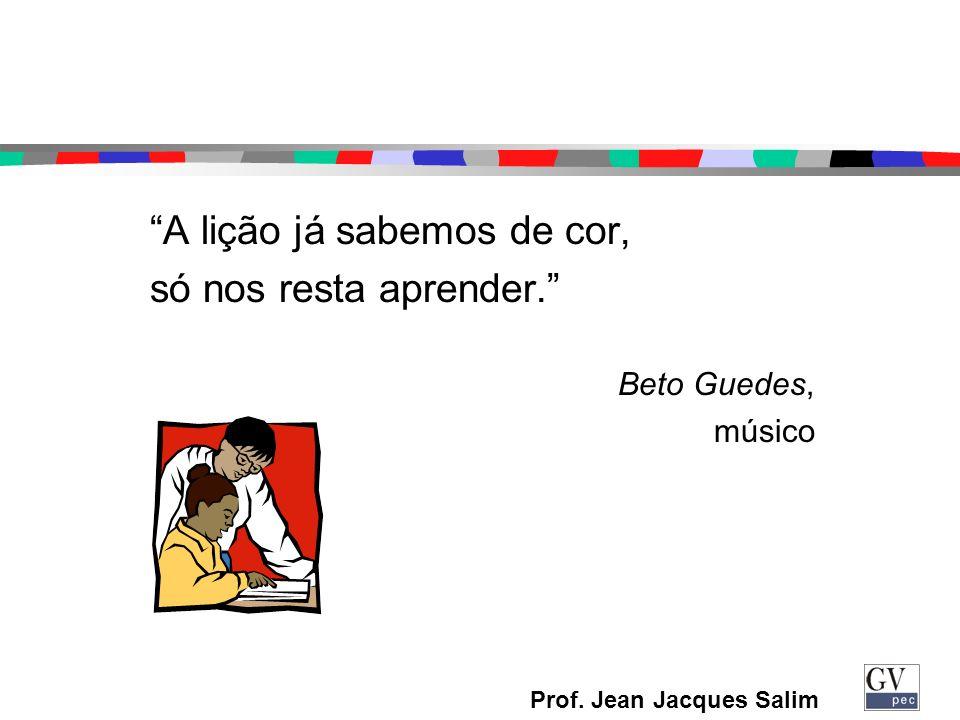 Prof. Jean Jacques Salim A lição já sabemos de cor, só nos resta aprender. Beto Guedes, músico