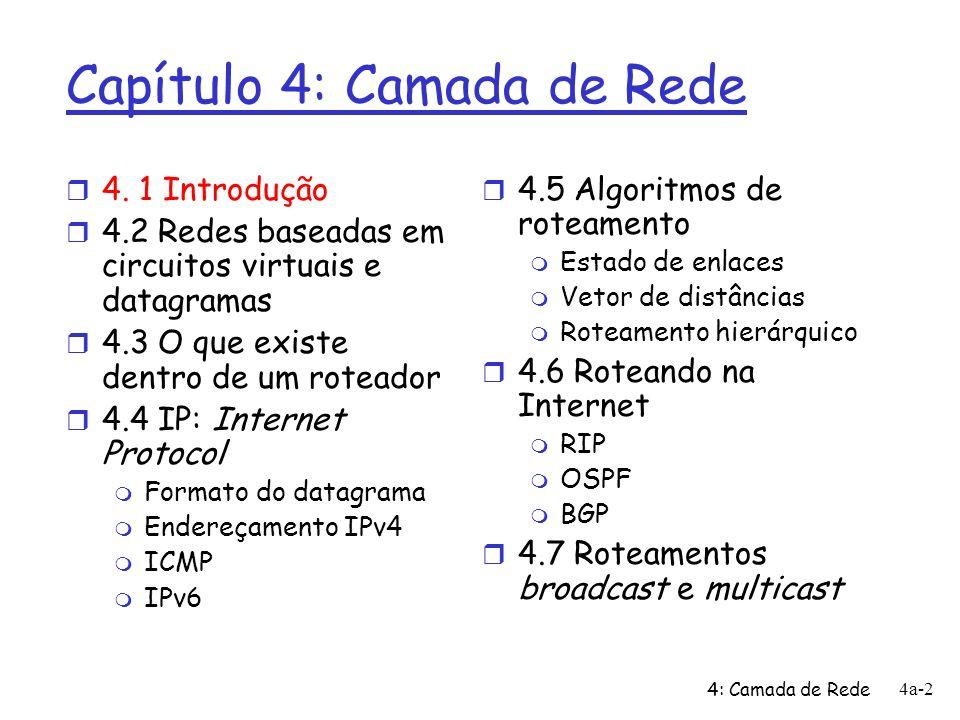4: Camada de Rede 4a-43 Endereçamento hierárquico: agregação de rotas mande-me qq coisa com endereços que começam com 200.23.16.0/20 200.23.16.0/23200.23.18.0/23200.23.30.0/23 Provedor A Organização 0 Organização 7 Internet Organização n 1 Provedor B mande-me qq coisa com endereços que começam com 199.31.0.0/16 200.23.20.0/23 Organização 2......