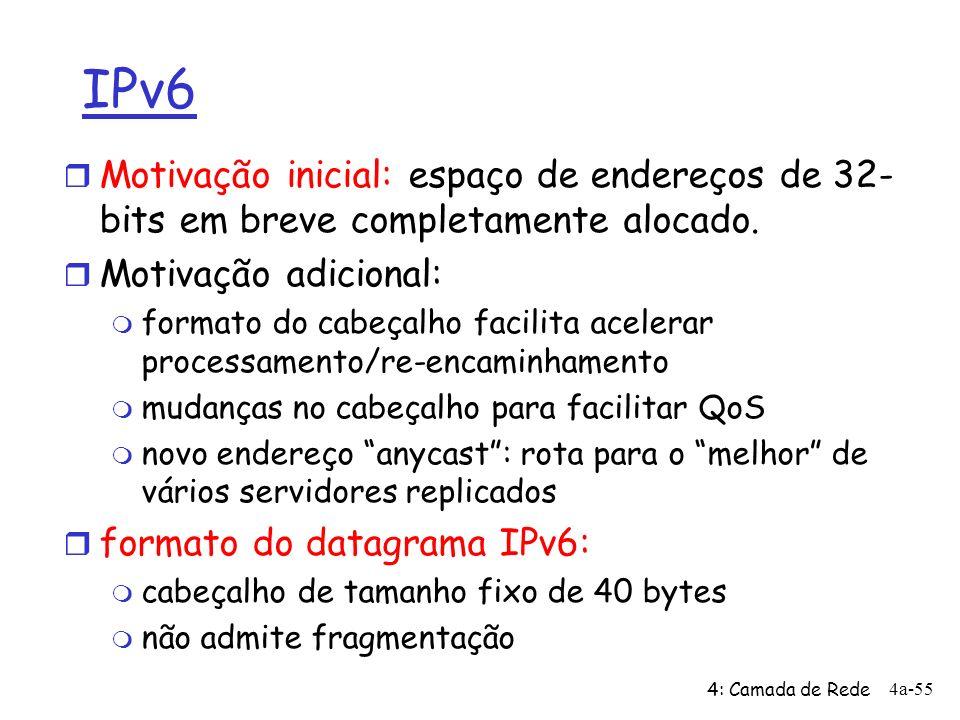 4: Camada de Rede 4a-55 IPv6 r Motivação inicial: espaço de endereços de 32- bits em breve completamente alocado. r Motivação adicional: m formato do