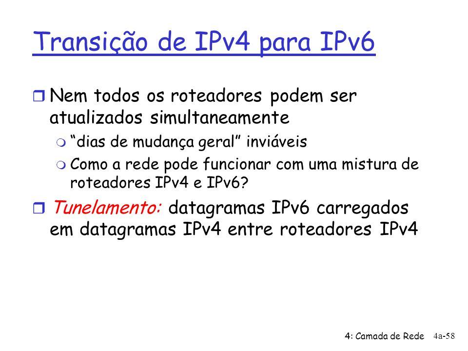 4: Camada de Rede 4a-58 Transição de IPv4 para IPv6 r Nem todos os roteadores podem ser atualizados simultaneamente m dias de mudança geral inviáveis