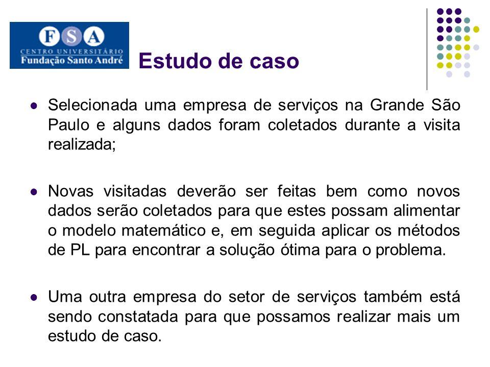 Estudo de caso Selecionada uma empresa de serviços na Grande São Paulo e alguns dados foram coletados durante a visita realizada; Novas visitadas deve