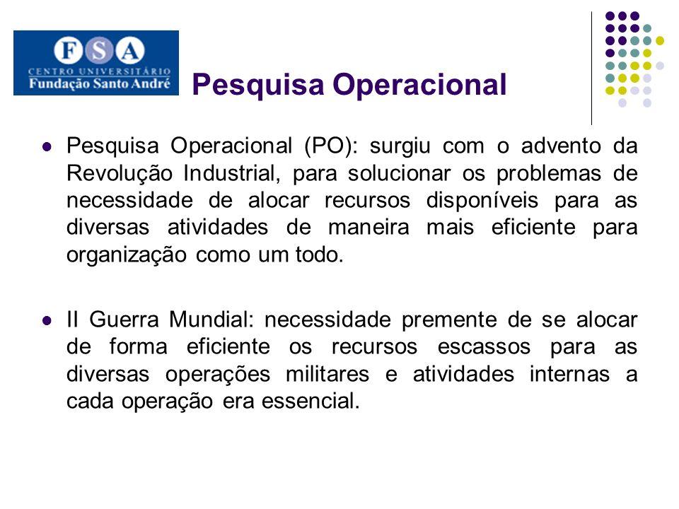 Pesquisa Operacional Pesquisa Operacional (PO): surgiu com o advento da Revolução Industrial, para solucionar os problemas de necessidade de alocar re