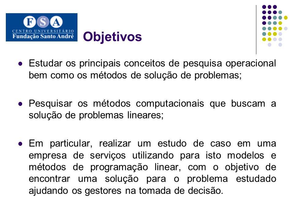 Objetivos Estudar os principais conceitos de pesquisa operacional bem como os métodos de solução de problemas; Pesquisar os métodos computacionais que