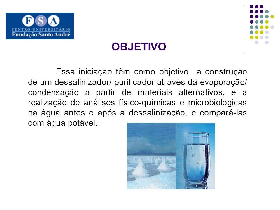 OBJETIVO Essa iniciação têm como objetivo a construção de um dessalinizador/ purificador através da evaporação/ condensação a partir de materiais alte