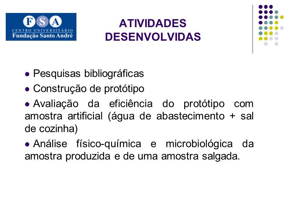 ATIVIDADES DESENVOLVIDAS Pesquisas bibliográficas Construção de protótipo Avaliação da eficiência do protótipo com amostra artificial (água de abastec