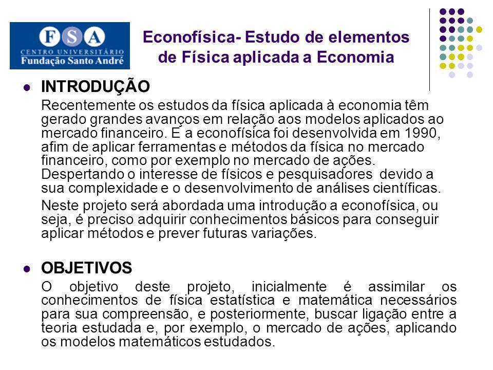 Econofísica- Estudo de elementos de Física aplicada a Economia INTRODUÇÃO Recentemente os estudos da física aplicada à economia têm gerado grandes ava