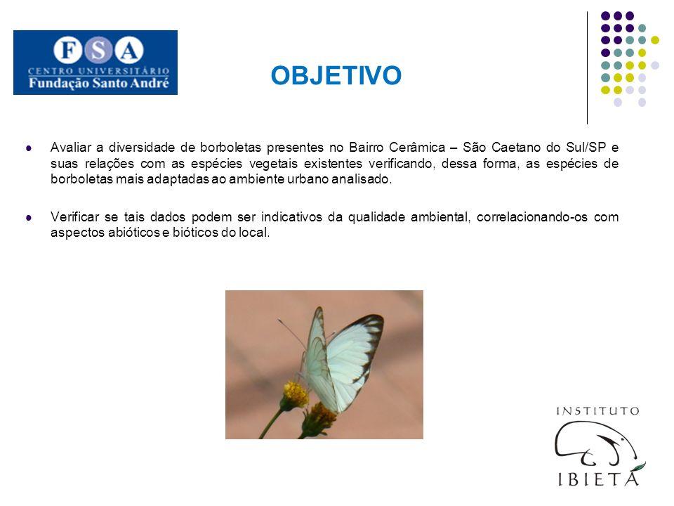 OBJETIVO Avaliar a diversidade de borboletas presentes no Bairro Cerâmica – São Caetano do Sul/SP e suas relações com as espécies vegetais existentes
